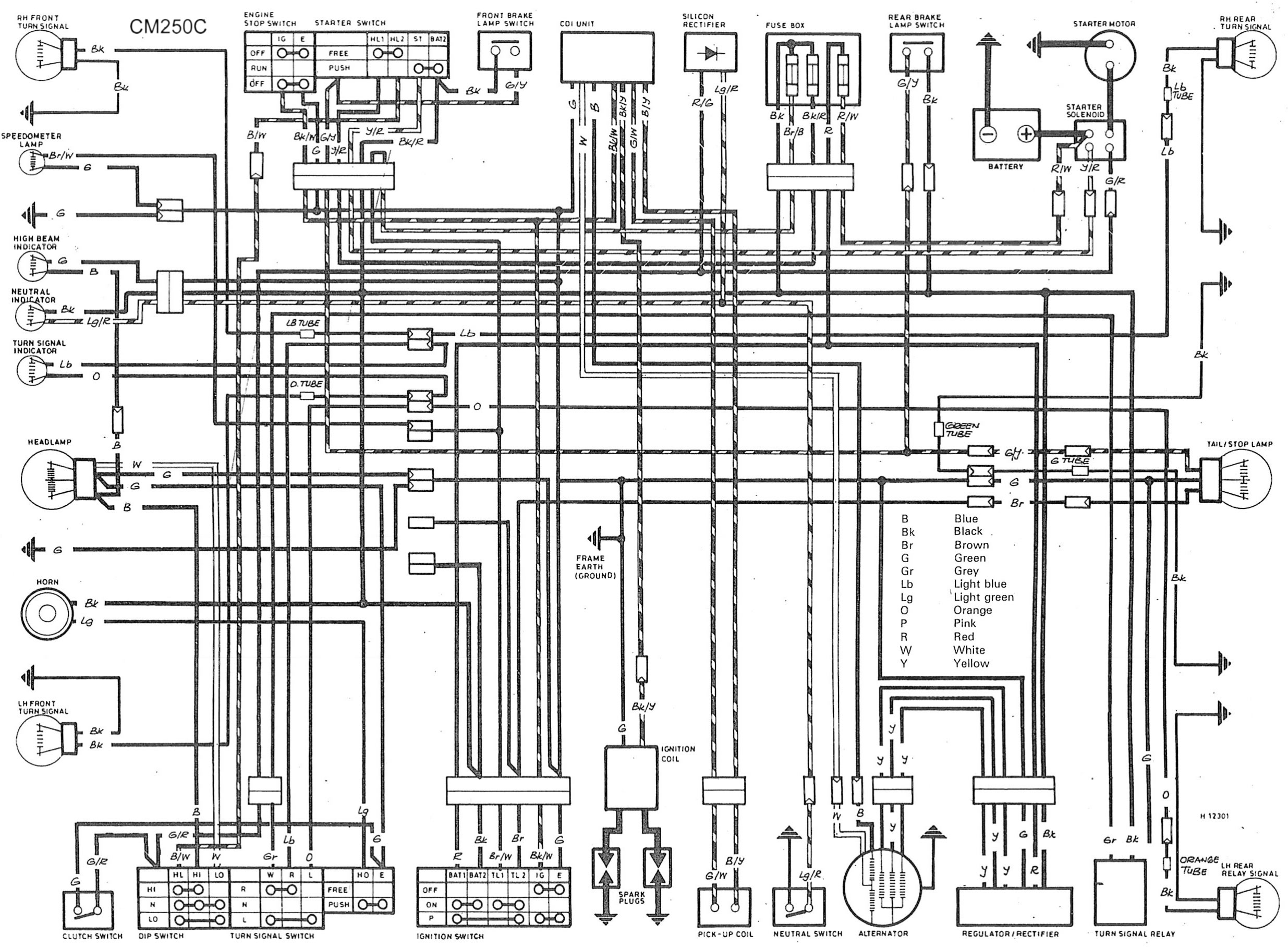 Honda Cm 250 Custom Motorcycle Cm250c 4 Cylinder Wiring Diagram Wire Circuit